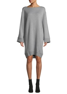 Vince Cotton Terry Flare-Sleeve Shift Dress