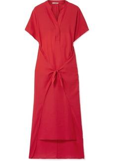 Vince Tie-front cotton-twill midi dress