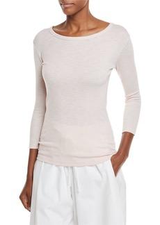 Vince Crewneck 3/4-Sleeve Cotton-Blend Top
