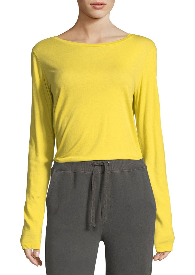 Vince Crewneck Long Sleeve Slub Pima Cotton Top Casual Shirts