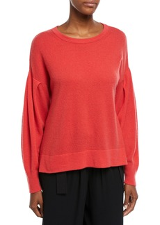 Vince Crewneck Pleated-Sleeve Pullover Cashmere Sweater
