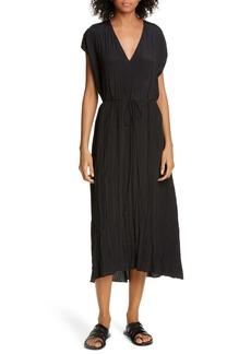 Vince Crinkle Pleat Tie Waist Cap Sleeve Dress