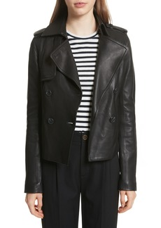 Vince Crop Leather Trench Coat
