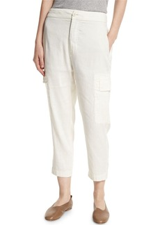 Vince Cropped Linen-Blend Cargo Pants