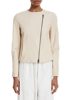 Vince Cross-Front Lamb Leather Jacket