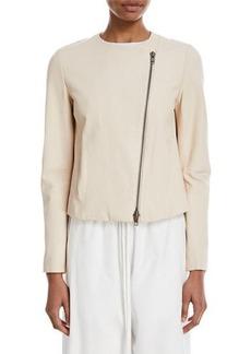 Vince Cross-Front Lamb Leather Jacket