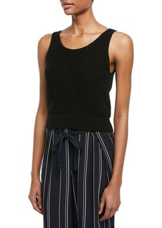 Vince Crossover V-Back Ribbed Tank