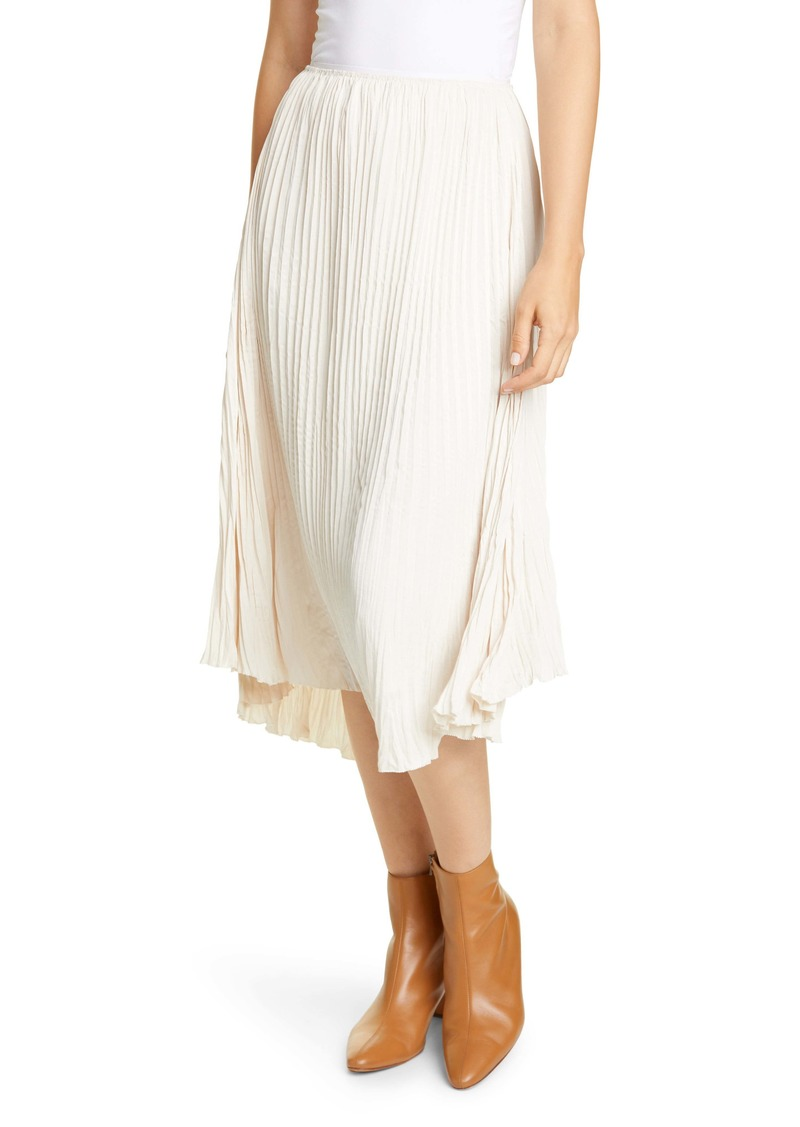 Vince Crushed Pleated Drape Skirt