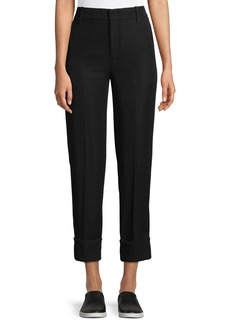 Vince Cuffed Straight-Leg Crepe Trousers