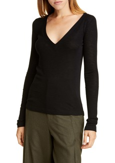 Vince Deep V-Neck Long Sleeve Wool Sweater