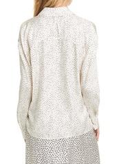 Vince Ditsy Dot Long Sleeve Silk Blend Button-Up Shirt