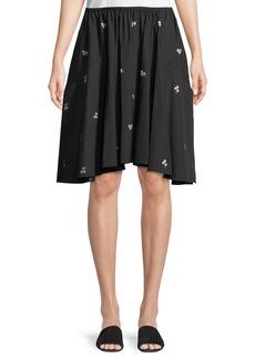 Vince Ditsy Floral Poplin Pleated Skirt