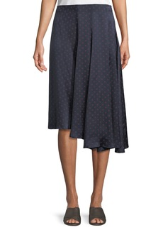 Vince Dot-Print Foulard Asymmetric Pleated Silk Skirt