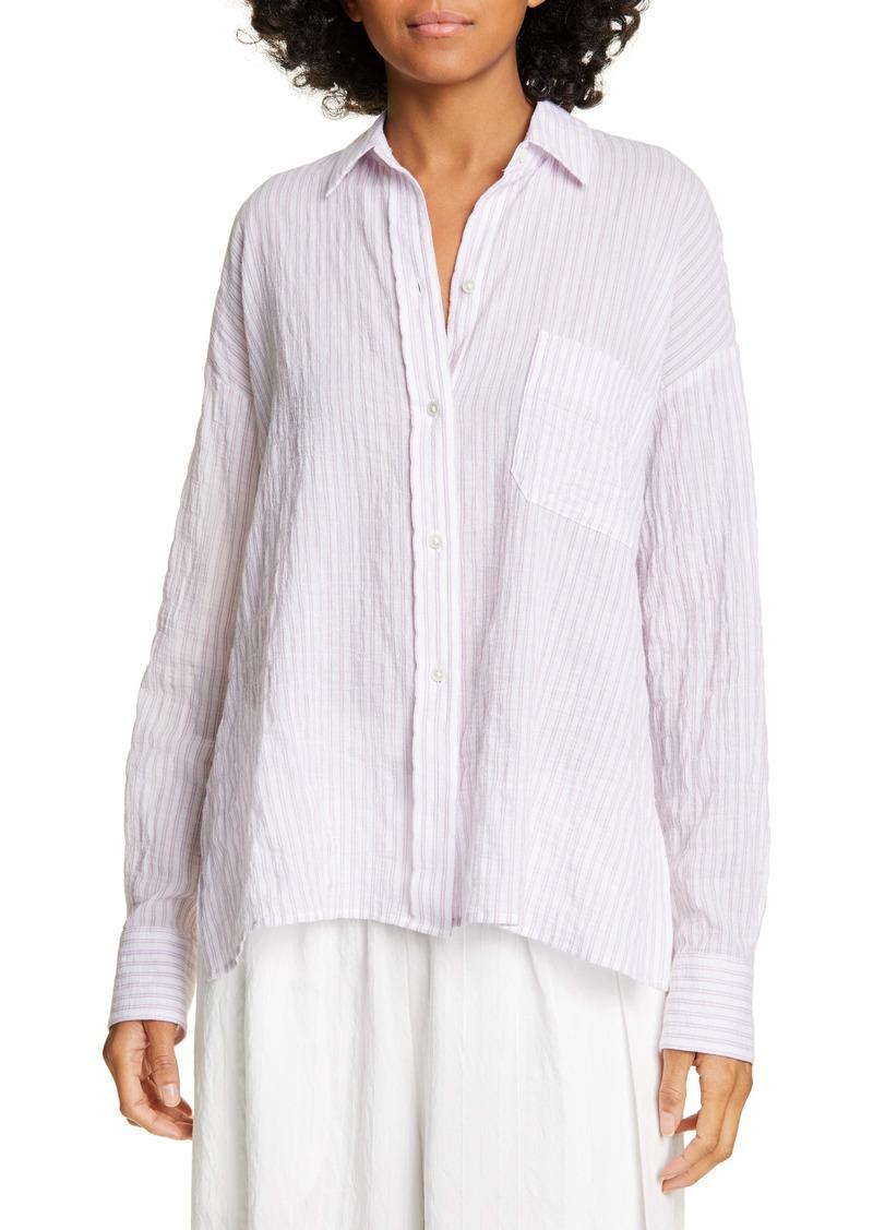 Vince Double Bar Stripe Button-Up Stretch Cotton Blouse