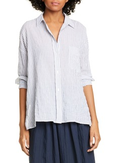 Vince Double Bar Stripe Button-Up Stretch Cotton Blouse