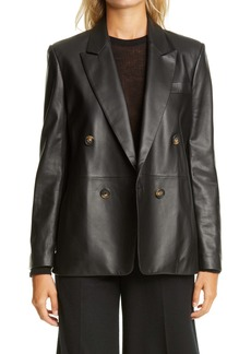 Vince Double Breasted Leather Blazer