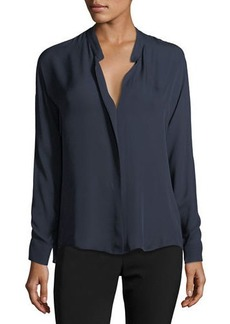 Vince Double-Front Silk Blouse