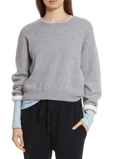 Vince Double Layer Cashmere & Cotton Sweater