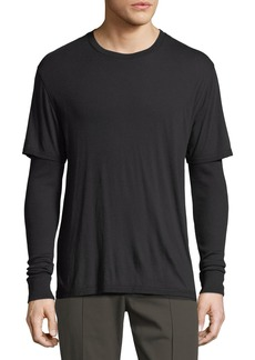 Vince Double-Layer Long-Sleeve Knit T-Shirt