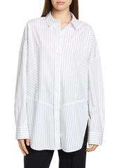 Vince Double Pinstripe Paneled Oversize Shirt