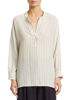 Vince Double Stripe Shirred Silk Blouse