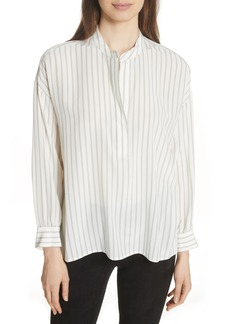 Vince Double Stripe Silk Pullover