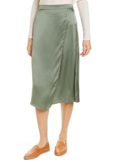 Vince Drape Panel Silk Skirt