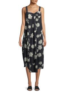 Vince Draped Chrysanthemum Sleeveless Midi Dress