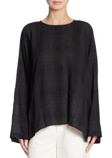 Vince Draped Plaid Top
