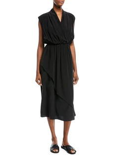 Vince Draped Sleeveless Cross-Front Midi Dress