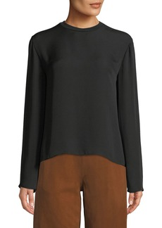 Vince Draped Tie-Back Silk Blouse