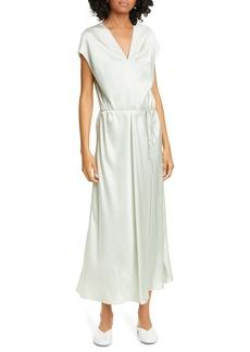 Vince Draped V-Neck Silk Dress
