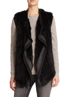 Vince Draped Wool & Rabbit Fur Vest