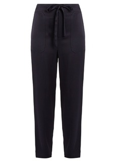 Vince Drawstring tapered-leg satin trousers