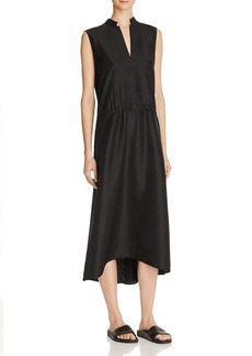 Vince Drawstring Waist Silk Midi Dress