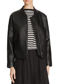 Vince Drop Shoulder Leather Bomber Jacket