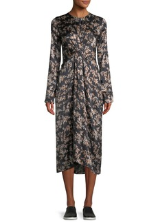 Vince Eden Leaf-Print Twist-Front Silk Midi Dress