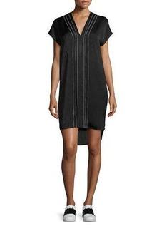 Vince Embroidered-Front V-Neck Shift Dress