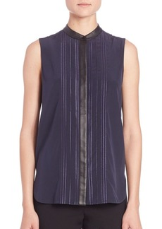 Vince Embroidered Sleeveless Blouse