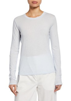 Vince Essential Crewneck Long-Sleeve Combed Cotton T-Shirt