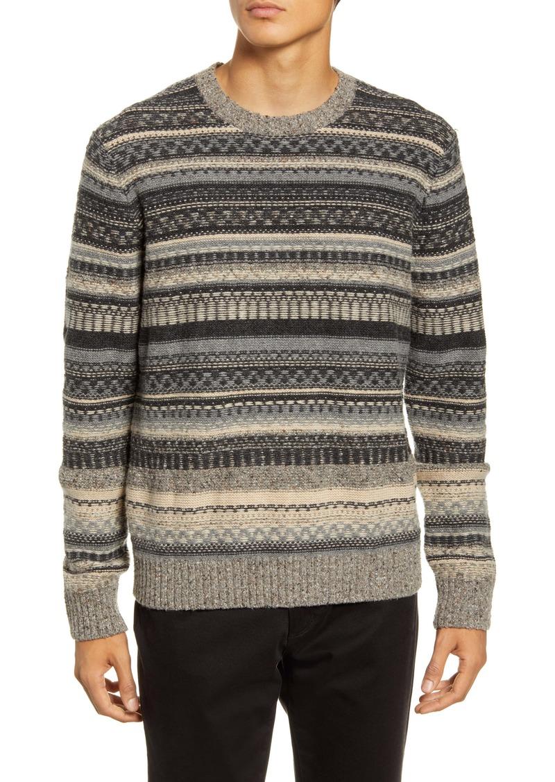 Vince Fair Isle Crewneck Wool Blend Sweater