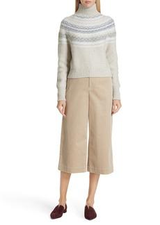 Vince Fair Isle Wool & Cashmere Crop Turtleneck Sweater