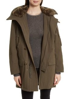 Vince Faux Fur Trim Military Parka
