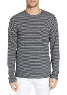 Vince Feeder Stripe Long Sleeve Cotton T-Shirt