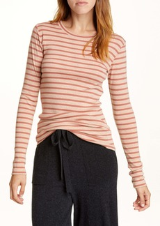 Vince Feeder Stripe Long Sleeve Pima Cotton Blend Top