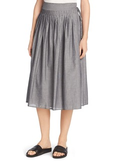 Vince Fine Stripe Midi Wrap Skirt