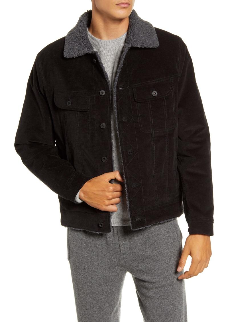 Vince Faux Fur Lined Corduroy Trucker Jacket