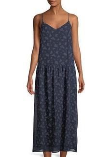 Vince Floral Calico Silk Drop-Waist Dress