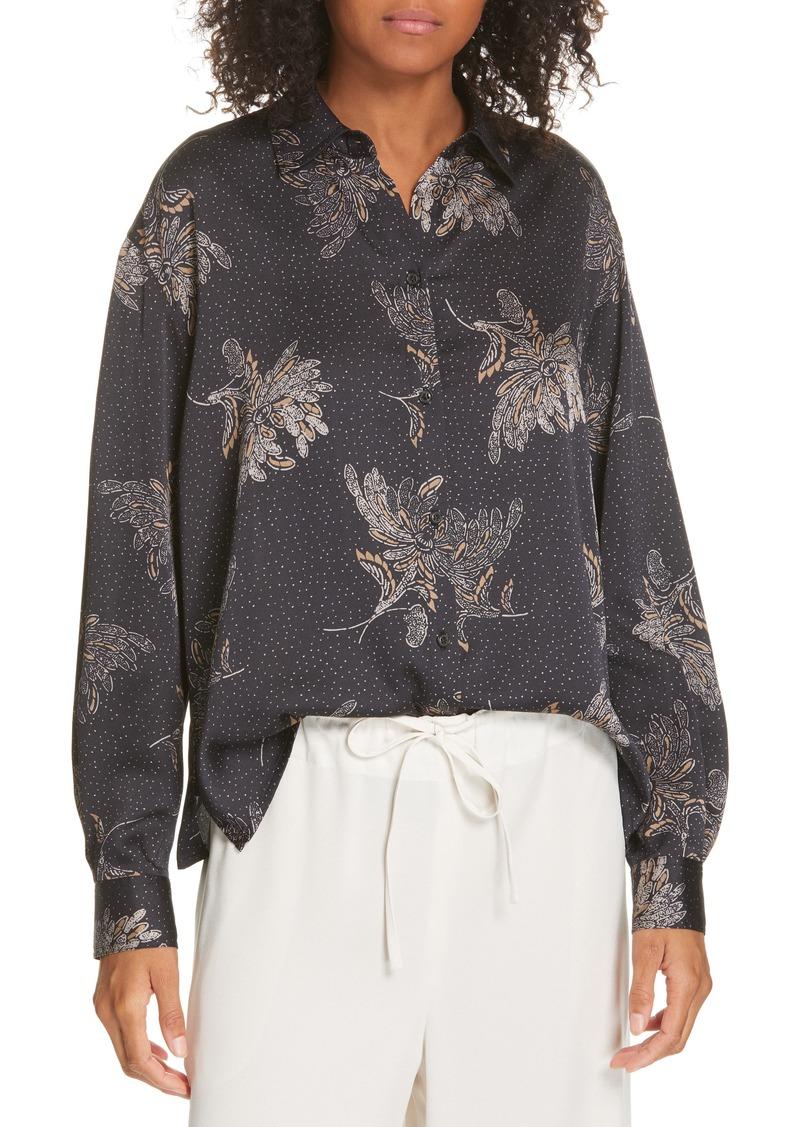 Vince Floral Dot Silk Blouse