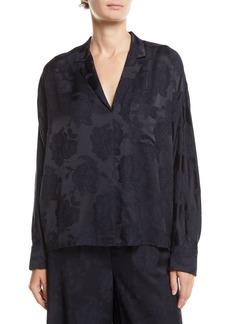 Vince Floral Jacquard Pajama Popover Top